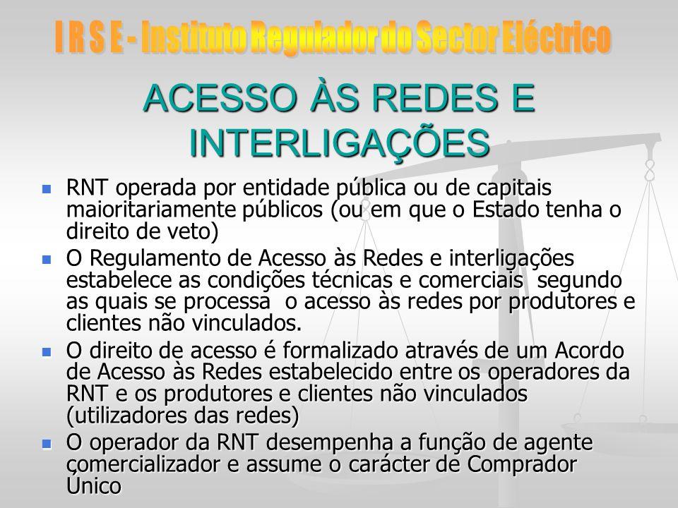 ACESSO ÀS REDES E INTERLIGAÇÕES RNT operada por entidade pública ou de capitais maioritariamente públicos (ou em que o Estado tenha o direito de veto)