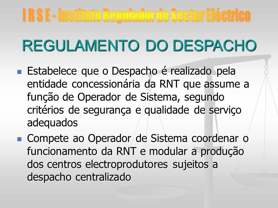 REGULAMENTO DO DESPACHO Estabelece que o Despacho é realizado pela entidade concessionária da RNT que assume a função de Operador de Sistema, segundo