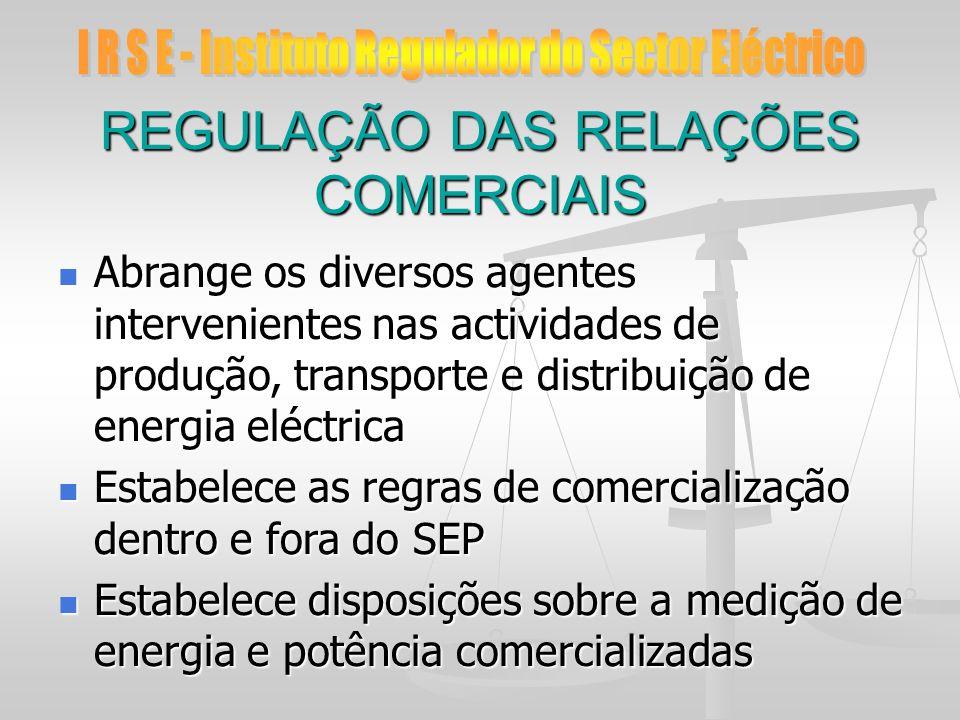REGULAÇÃO DAS RELAÇÕES COMERCIAIS Abrange os diversos agentes intervenientes nas actividades de produção, transporte e distribuição de energia eléctri