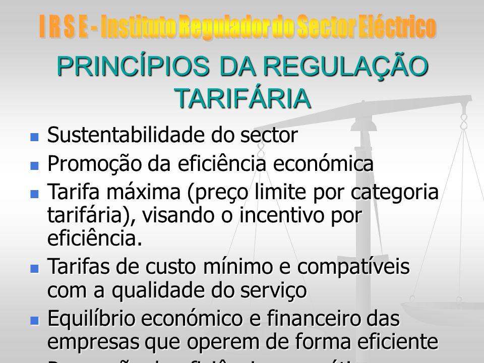 PRINCÍPIOS DA REGULAÇÃO TARIFÁRIA Sustentabilidade do sector Sustentabilidade do sector Promoção da eficiência económica Promoção da eficiência económ