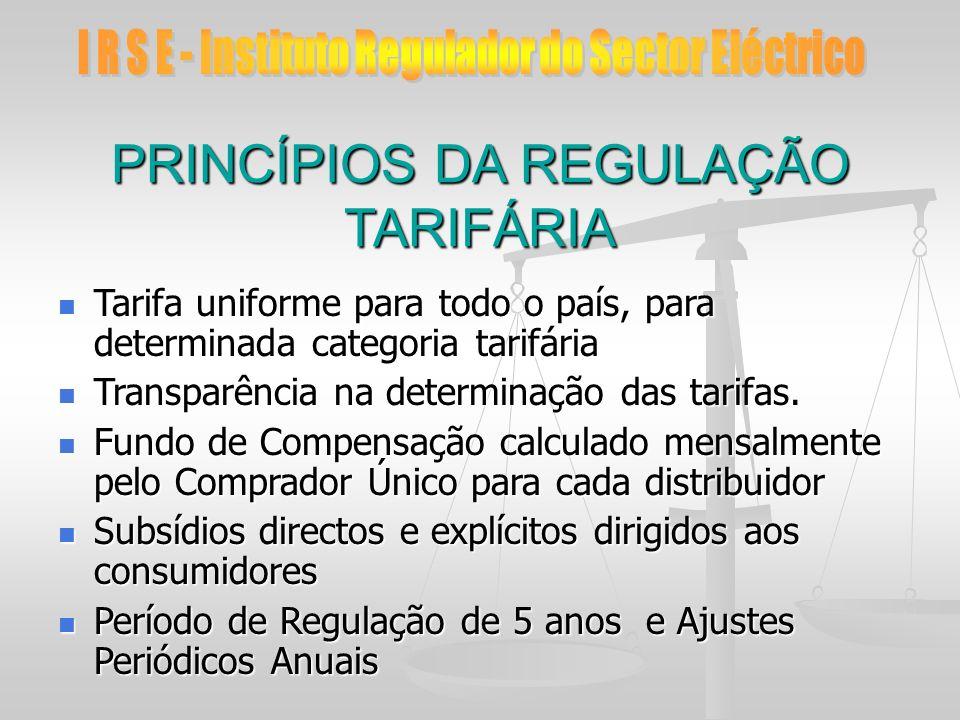 PRINCÍPIOS DA REGULAÇÃO TARIFÁRIA Tarifa uniforme para todo o país, para determinada categoria tarifária Tarifa uniforme para todo o país, para determ