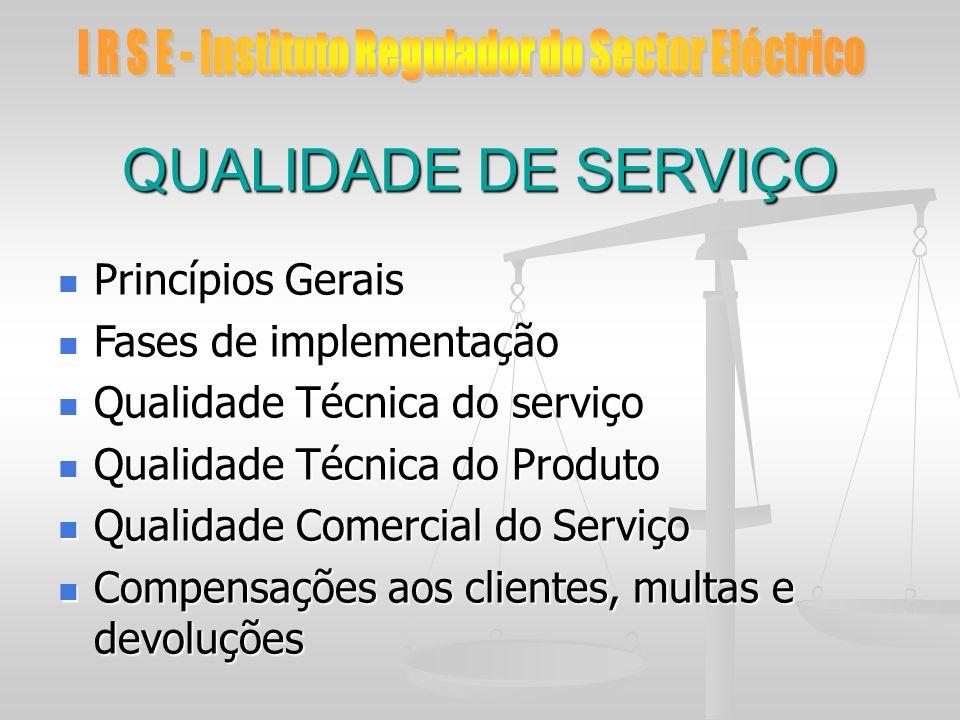 QUALIDADE DE SERVIÇO Princípios Gerais Princípios Gerais Fases de implementação Fases de implementação Qualidade Técnica do serviço Qualidade Técnica