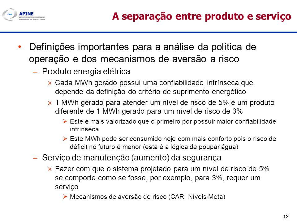 12 A separação entre produto e serviço Definições importantes para a análise da política de operação e dos mecanismos de aversão a risco –Produto ener