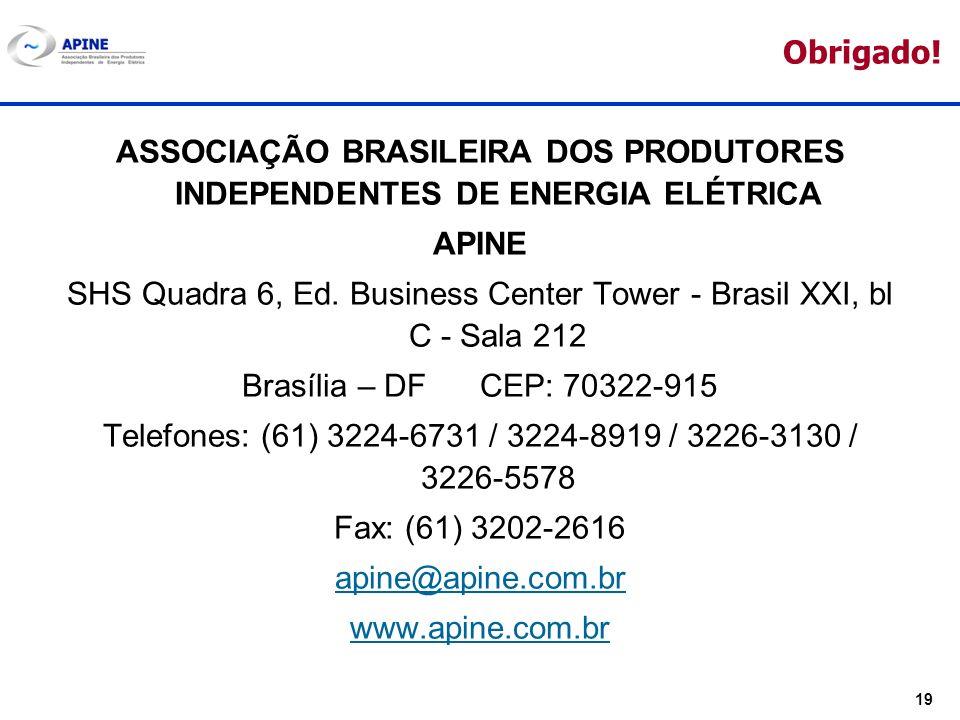 19 Obrigado! ASSOCIAÇÃO BRASILEIRA DOS PRODUTORES INDEPENDENTES DE ENERGIA ELÉTRICA APINE SHS Quadra 6, Ed. Business Center Tower - Brasil XXI, bl C -