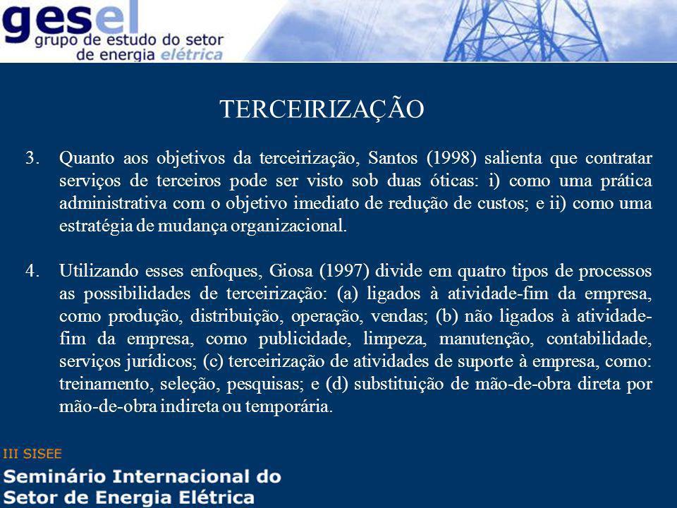3.Quanto aos objetivos da terceirização, Santos (1998) salienta que contratar serviços de terceiros pode ser visto sob duas óticas: i) como uma prátic