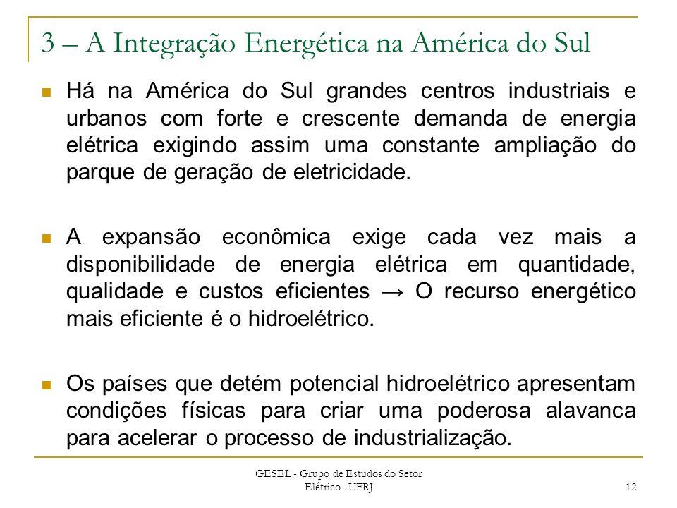 3 – A Integração Energética na América do Sul Há na América do Sul grandes centros industriais e urbanos com forte e crescente demanda de energia elét