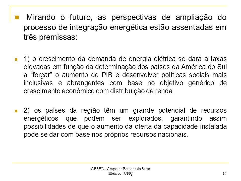 Mirando o futuro, as perspectivas de ampliação do processo de integração energética estão assentadas em três premissas: 1) o crescimento da demanda de
