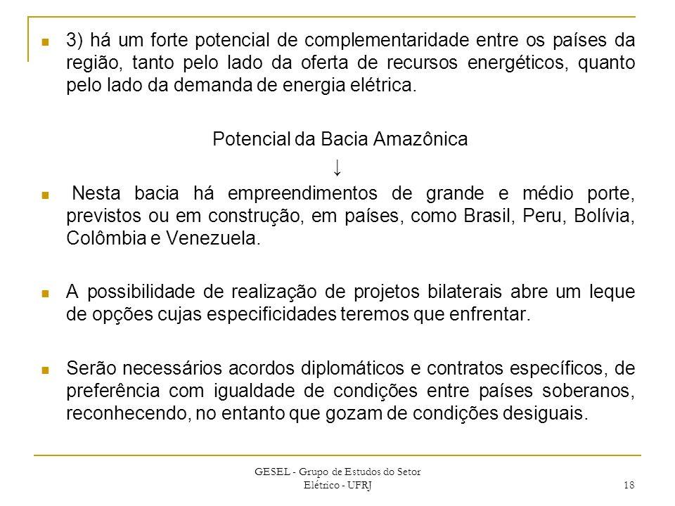 3) há um forte potencial de complementaridade entre os países da região, tanto pelo lado da oferta de recursos energéticos, quanto pelo lado da demand