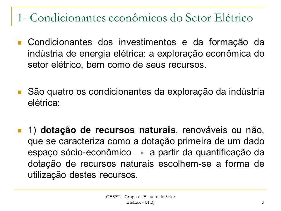 1- Condicionantes econômicos do Setor Elétrico Condicionantes dos investimentos e da formação da indústria de energia elétrica: a exploração econômica