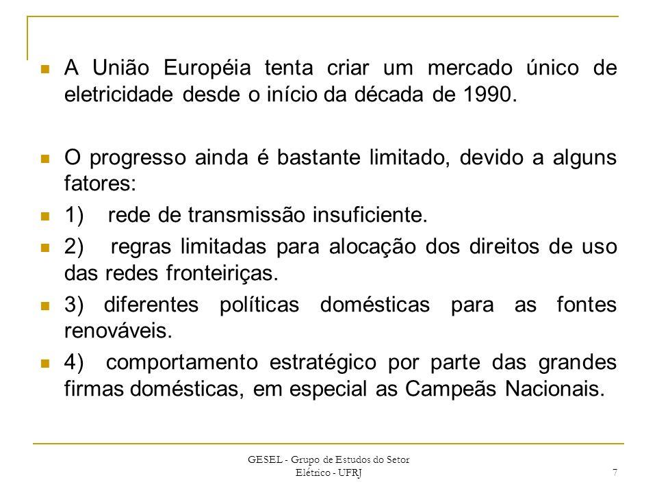 A União Européia tenta criar um mercado único de eletricidade desde o início da década de 1990. O progresso ainda é bastante limitado, devido a alguns