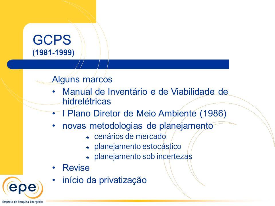 GCPS (1981-1999) Alguns marcos Manual de Inventário e de Viabilidade de hidrelétricas I Plano Diretor de Meio Ambiente (1986) novas metodologias de planejamento cenários de mercado planejamento estocástico planejamento sob incertezas Revise início da privatização