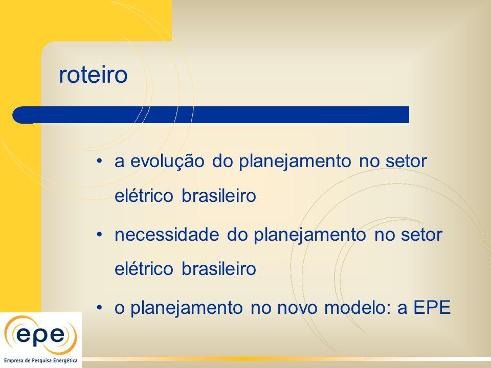 a evolução do planejamento no setor elétrico brasileiro necessidade do planejamento no setor elétrico brasileiro o planejamento no novo modelo: a EPE roteiro
