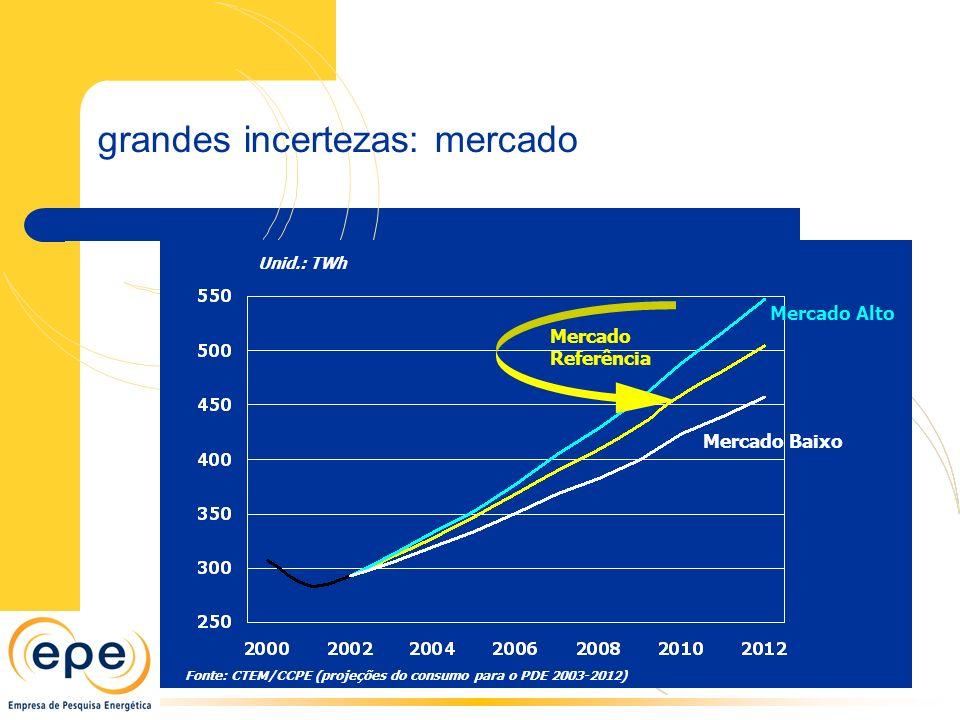 Unid.: TWh Fonte: CTEM/CCPE (projeções do consumo para o PDE 2003-2012) Mercado Alto Mercado Referência Mercado Baixo grandes incertezas: mercado
