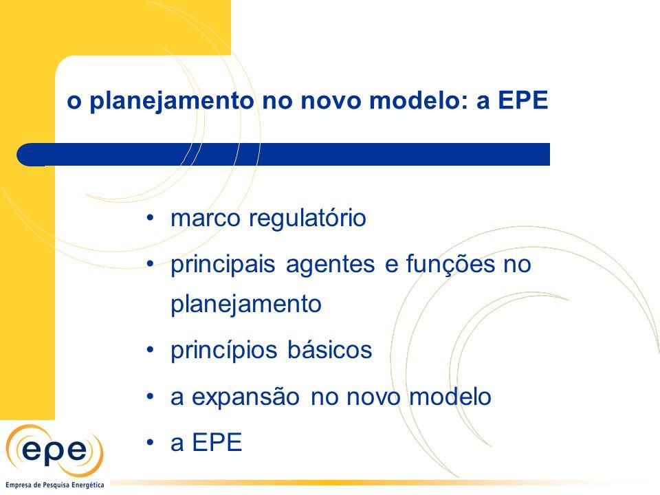 o planejamento no novo modelo: a EPE marco regulatório principais agentes e funções no planejamento princípios básicos a expansão no novo modelo a EPE