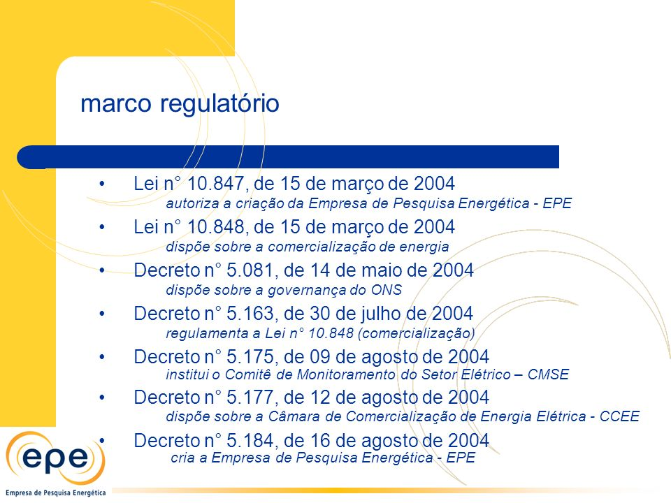 marco regulatório Lei n° 10.847, de 15 de março de 2004 autoriza a criação da Empresa de Pesquisa Energética - EPE Lei n° 10.848, de 15 de março de 2004 dispõe sobre a comercialização de energia Decreto n° 5.081, de 14 de maio de 2004 dispõe sobre a governança do ONS Decreto n° 5.163, de 30 de julho de 2004 regulamenta a Lei n° 10.848 (comercialização) Decreto n° 5.175, de 09 de agosto de 2004 institui o Comitê de Monitoramento do Setor Elétrico – CMSE Decreto n° 5.177, de 12 de agosto de 2004 dispõe sobre a Câmara de Comercialização de Energia Elétrica - CCEE Decreto n° 5.184, de 16 de agosto de 2004 cria a Empresa de Pesquisa Energética - EPE