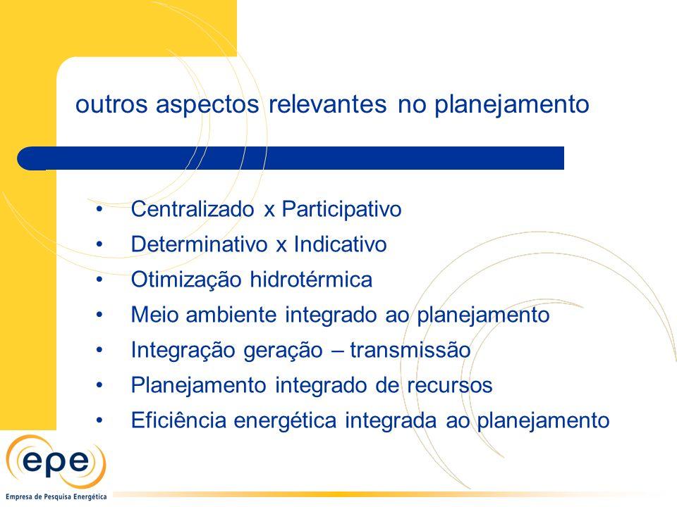 Centralizado x Participativo Determinativo x Indicativo Otimização hidrotérmica Meio ambiente integrado ao planejamento Integração geração – transmissão Planejamento integrado de recursos Eficiência energética integrada ao planejamento outros aspectos relevantes no planejamento