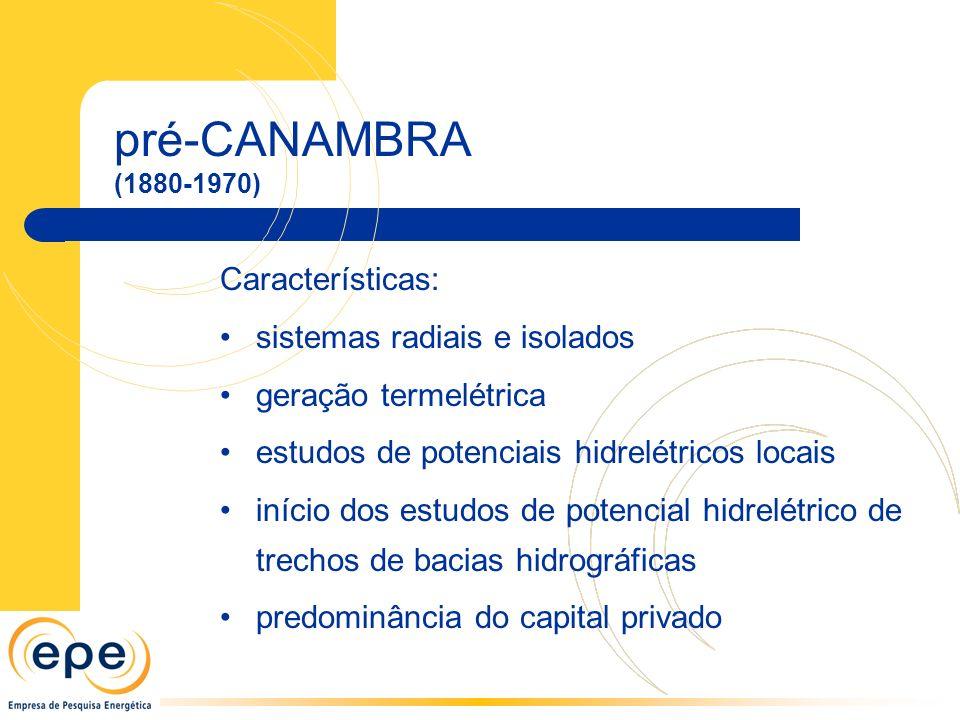 pré-CANAMBRA (1880-1970) Características: sistemas radiais e isolados geração termelétrica estudos de potenciais hidrelétricos locais início dos estudos de potencial hidrelétrico de trechos de bacias hidrográficas predominância do capital privado