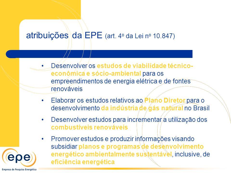 Desenvolver os estudos de viabilidade técnico- econômica e sócio-ambiental para os empreendimentos de energia elétrica e de fontes renováveis Elaborar os estudos relativos ao Plano Diretor para o desenvolvimento da indústria de gás natural no Brasil Desenvolver estudos para incrementar a utilização dos combustíveis renováveis Promover estudos e produzir informações visando subsidiar planos e programas de desenvolvimento energético ambientalmente sustentável, inclusive, de eficiência energética atribuições da EPE (art.