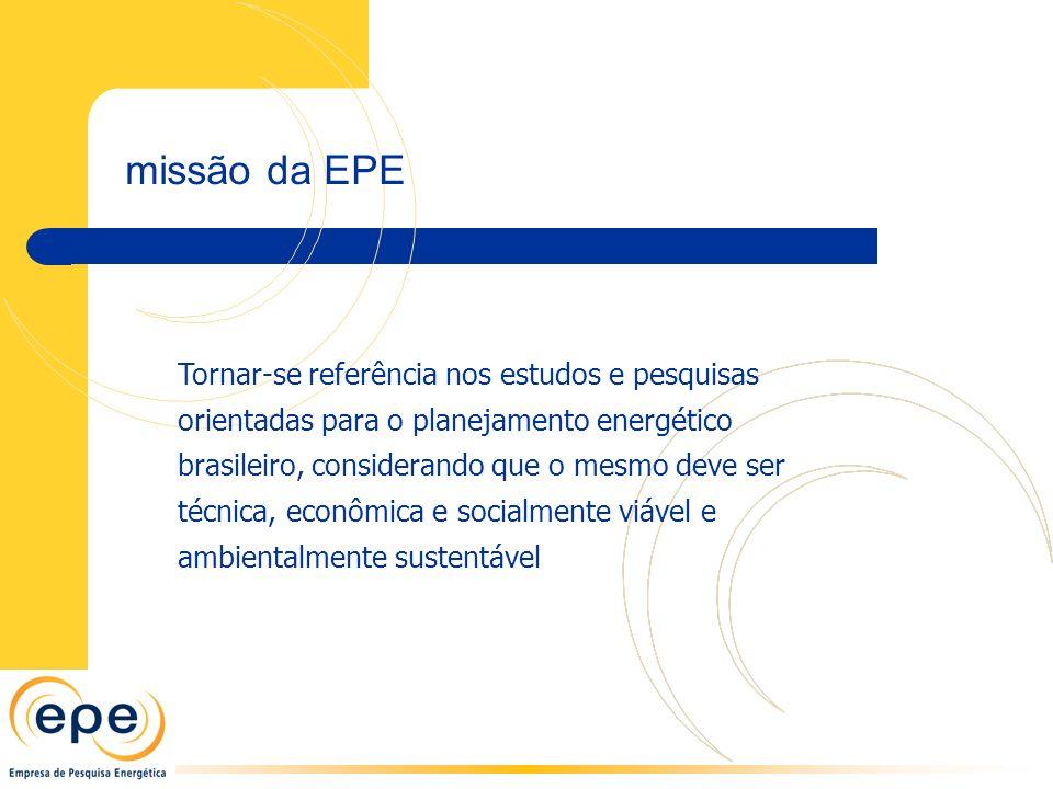 Tornar-se referência nos estudos e pesquisas orientadas para o planejamento energético brasileiro, considerando que o mesmo deve ser técnica, econômica e socialmente viável e ambientalmente sustentável missão da EPE