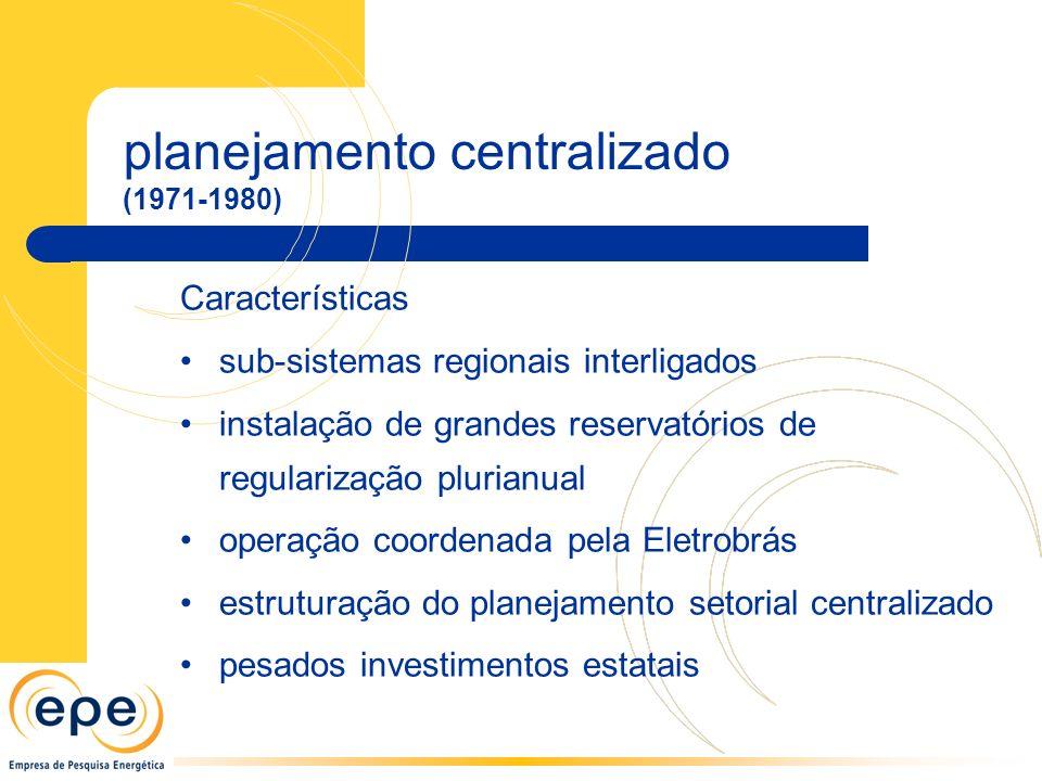 planejamento centralizado (1971-1980) Características sub-sistemas regionais interligados instalação de grandes reservatórios de regularização plurianual operação coordenada pela Eletrobrás estruturação do planejamento setorial centralizado pesados investimentos estatais