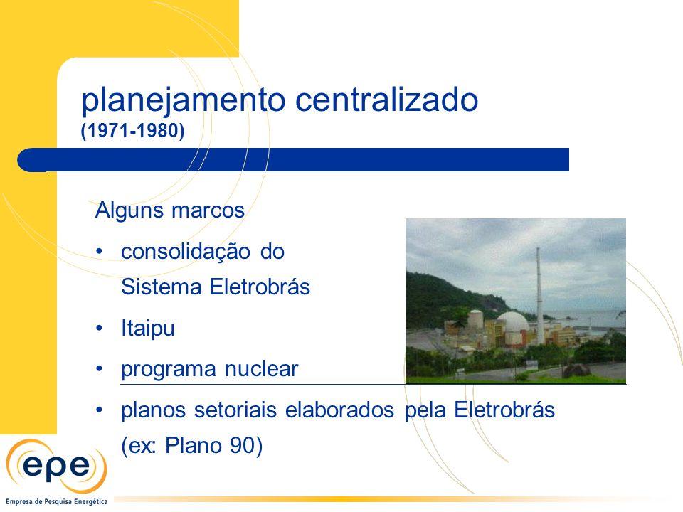 Alguns marcos consolidação do Sistema Eletrobrás Itaipu programa nuclear planos setoriais elaborados pela Eletrobrás (ex: Plano 90) planejamento centralizado (1971-1980)
