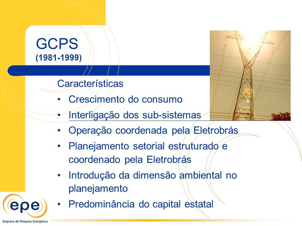 GCPS (1981-1999) Características Crescimento do consumo Interligação dos sub-sistemas Operação coordenada pela Eletrobrás Planejamento setorial estruturado e coordenado pela Eletrobrás Introdução da dimensão ambiental no planejamento Predominância do capital estatal