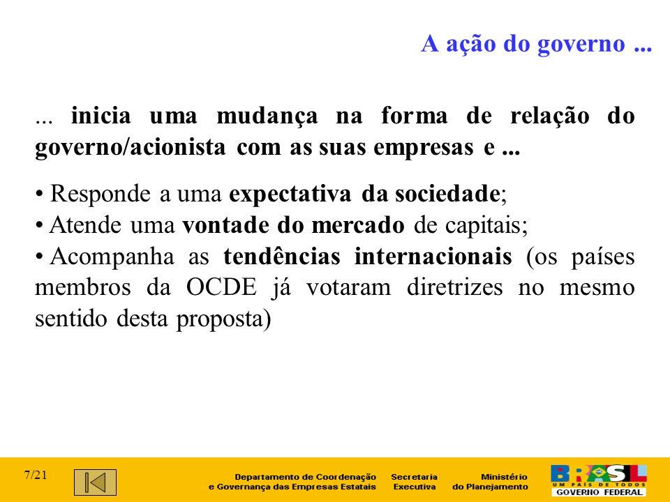 ... inicia uma mudança na forma de relação do governo/acionista com as suas empresas e... Responde a uma expectativa da sociedade; Atende uma vontade