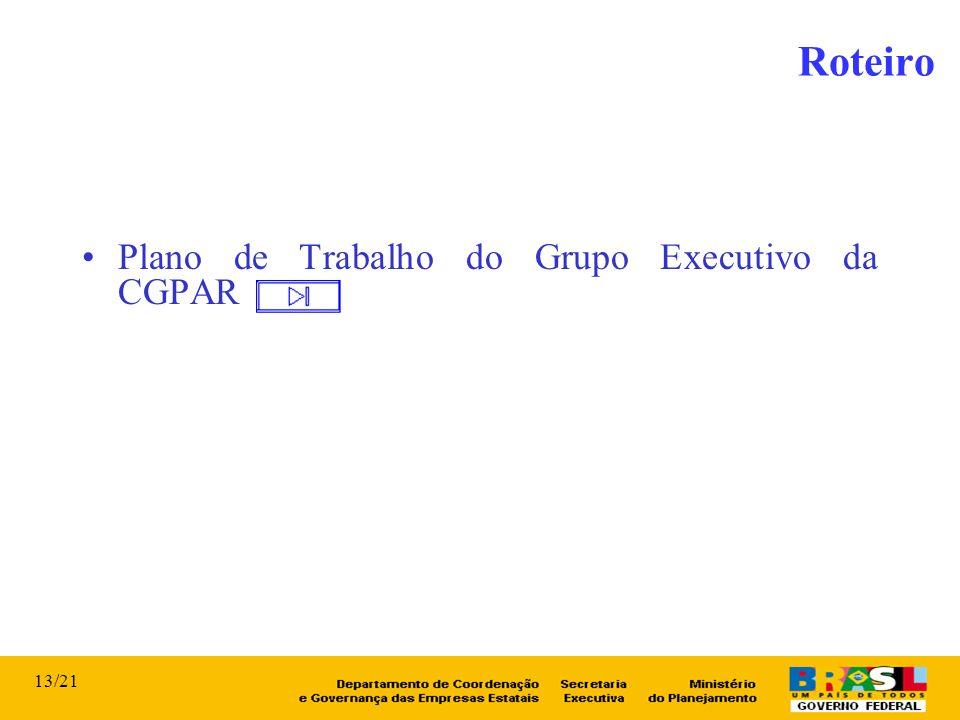Plano de Trabalho do Grupo Executivo da CGPAR Roteiro 13/21