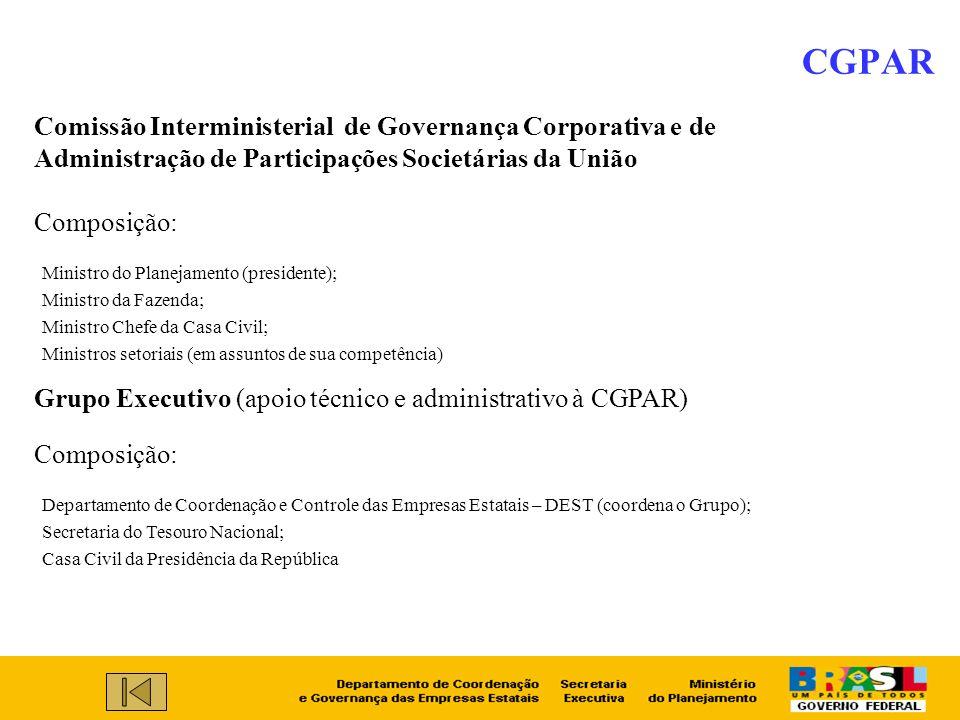 Ministro do Planejamento (presidente); Ministro da Fazenda; Ministro Chefe da Casa Civil; Ministros setoriais (em assuntos de sua competência) CGPAR C