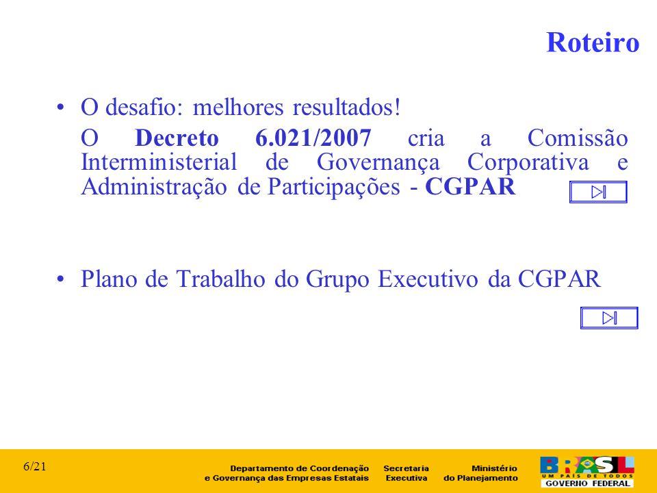 O desafio: melhores resultados! O Decreto 6.021/2007 cria a Comissão Interministerial de Governança Corporativa e Administração de Participações - CGP