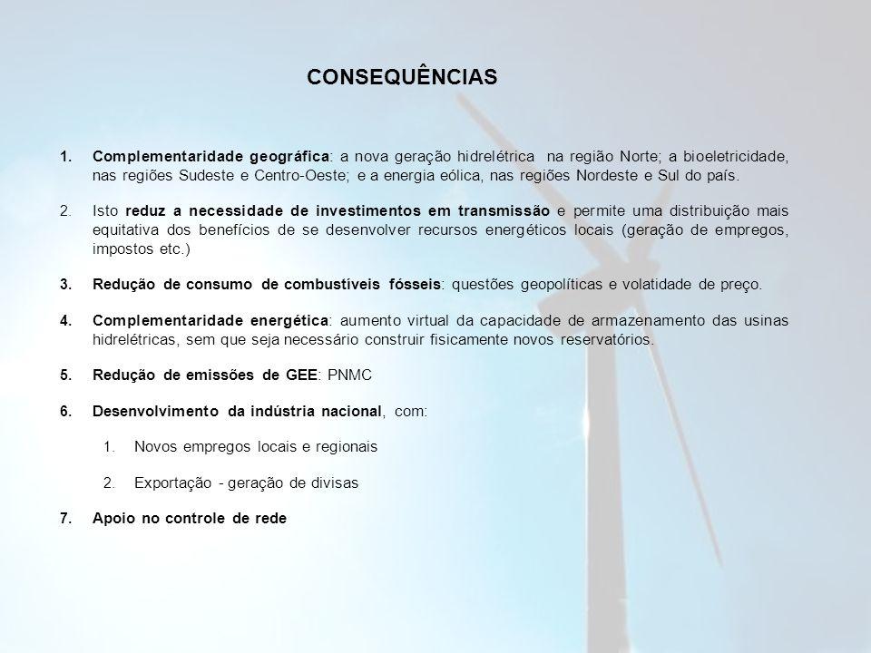 1. Complementaridade geográfica: a nova geração hidrelétrica na região Norte; a bioeletricidade, nas regiões Sudeste e Centro-Oeste; e a energia eólic