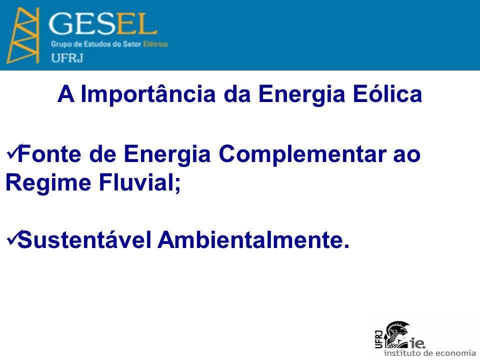 A Importância da Energia Eólica Fonte de Energia Complementar ao Regime Fluvial; Sustentável Ambientalmente.