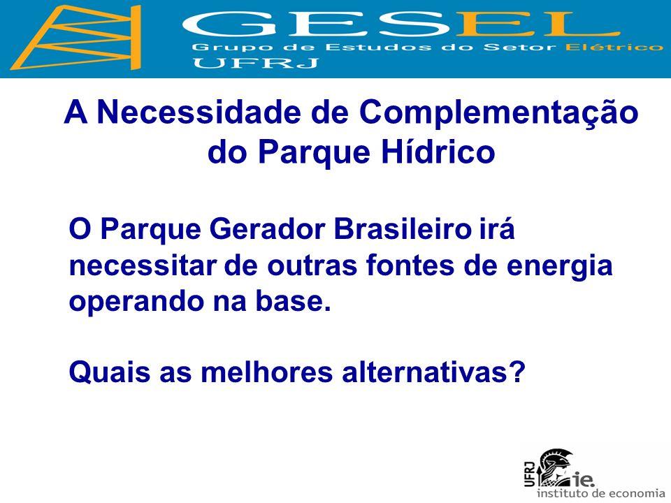 A Necessidade de Complementação do Parque Hídrico O Parque Gerador Brasileiro irá necessitar de outras fontes de energia operando na base.