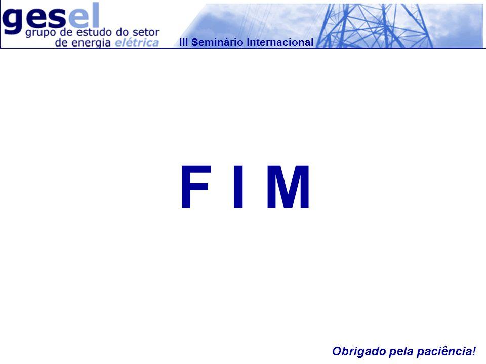 III Seminário Internacional F I M Obrigado pela paciência!