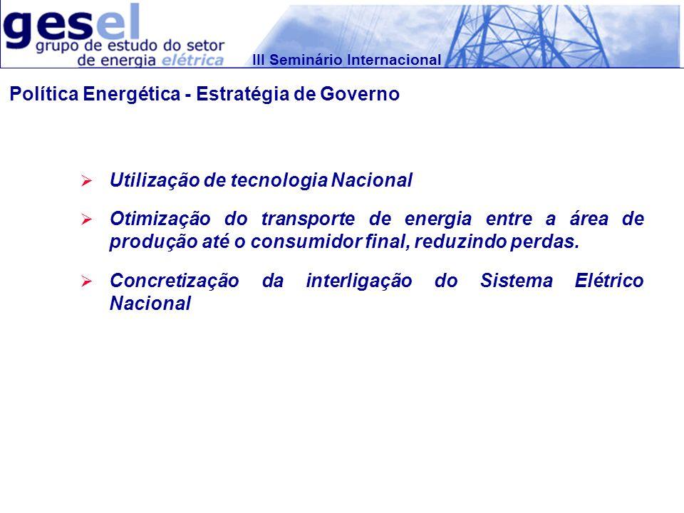 III Seminário Internacional Utilização de tecnologia Nacional Otimização do transporte de energia entre a área de produção até o consumidor final, red