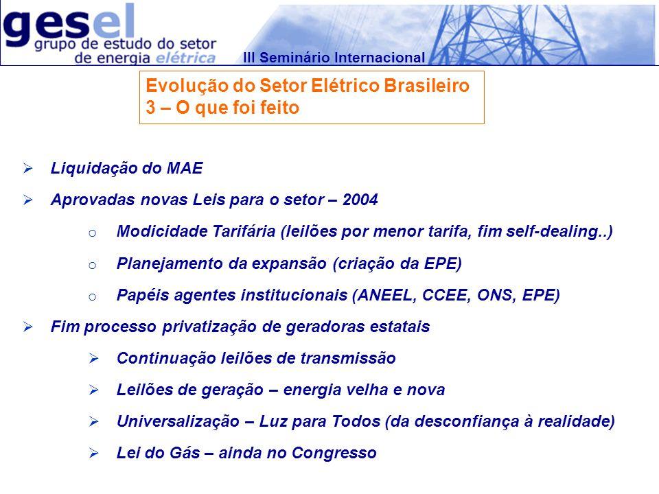 III Seminário Internacional Evolução do Setor Elétrico Brasileiro 3 – O que foi feito Liquidação do MAE Aprovadas novas Leis para o setor – 2004 o Mod