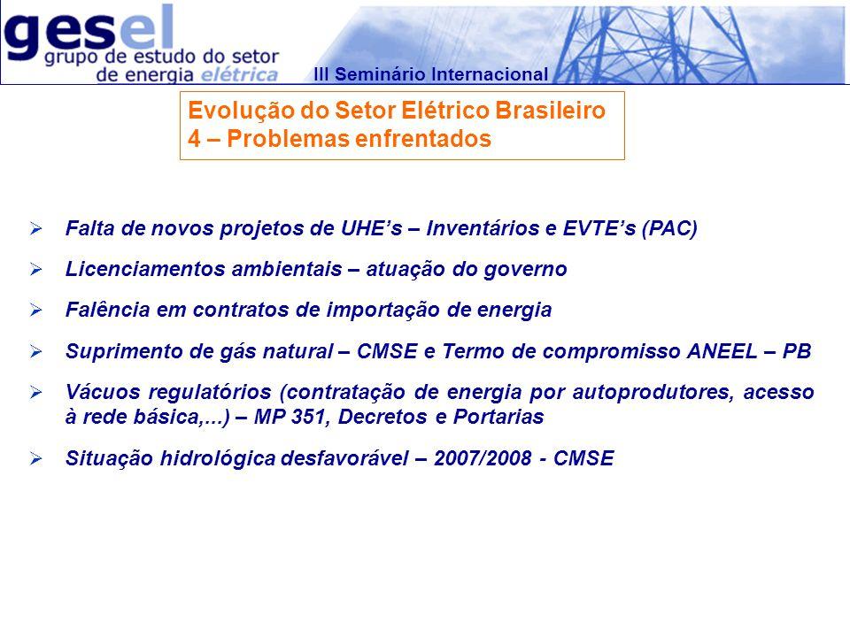 III Seminário Internacional Evolução do Setor Elétrico Brasileiro 4 – Problemas enfrentados Falta de novos projetos de UHEs – Inventários e EVTEs (PAC