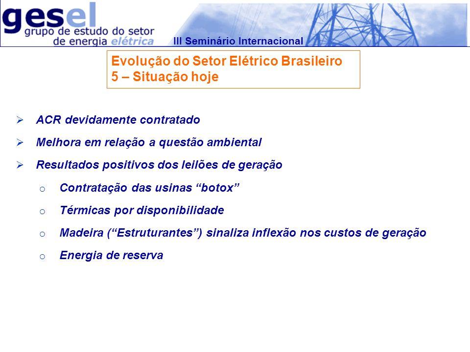 III Seminário Internacional Evolução do Setor Elétrico Brasileiro 5 – Situação hoje Consolidação do SIN (Interligação com Norte) Lucratividade das distribuidoras (fim do IARD) Classificadoras de risco promovem rating das empresas do setor Standard & Poors em junho de 2008: o ….