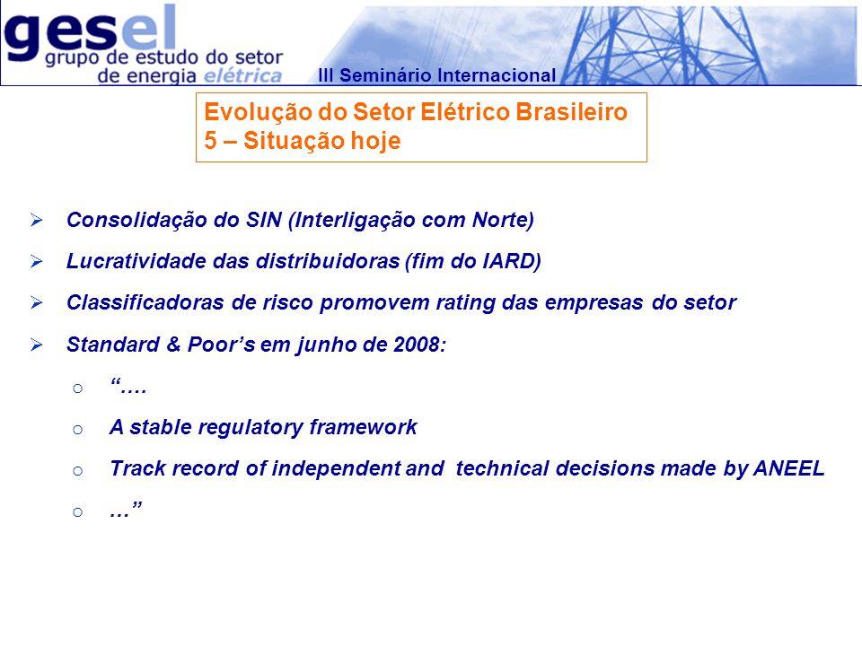 III Seminário Internacional Evolução do Setor Elétrico Brasileiro 5 – Situação hoje Consolidação do SIN (Interligação com Norte) Lucratividade das dis