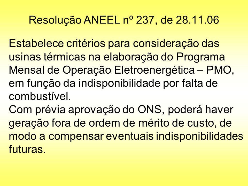 Resolução ANEEL nº 237, de 28.11.06 Estabelece critérios para consideração das usinas térmicas na elaboração do Programa Mensal de Operação Eletroener