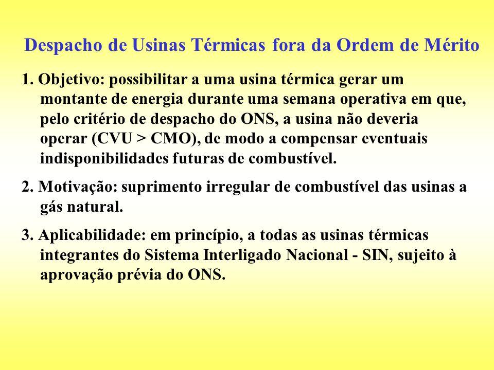 1. Objetivo: possibilitar a uma usina térmica gerar um montante de energia durante uma semana operativa em que, pelo critério de despacho do ONS, a us