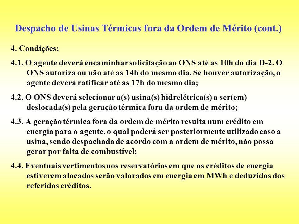 4. Condições: 4.1. O agente deverá encaminhar solicitação ao ONS até as 10h do dia D-2. O ONS autoriza ou não até as 14h do mesmo dia. Se houver autor