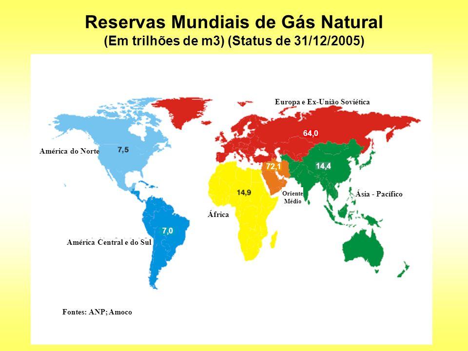 750,7 1.061,2 360,1 163,0 Produção Mundial de Gás Natural (Em trilhões de m3) (Status de 31/12/2005) Europa e Ex-União Soviética Ásia - Pacífico África América do Norte América Central e do Sul Fontes: ANP, BP,Amoco Oriente Médio