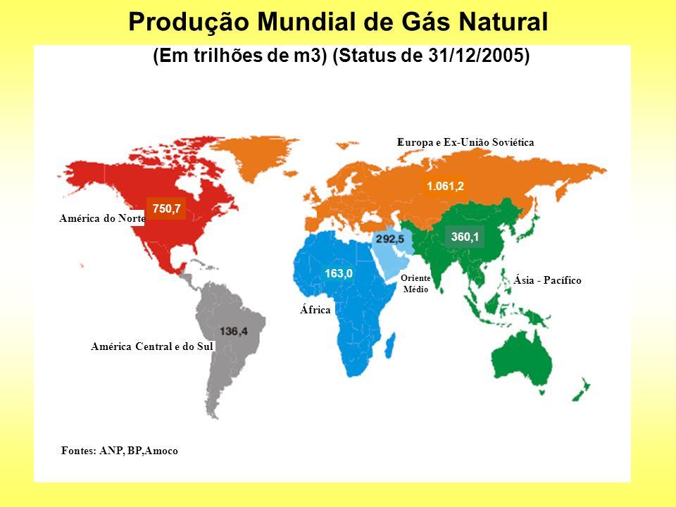 750,7 1.061,2 360,1 163,0 Produção Mundial de Gás Natural (Em trilhões de m3) (Status de 31/12/2005) Europa e Ex-União Soviética Ásia - Pacífico Áfric