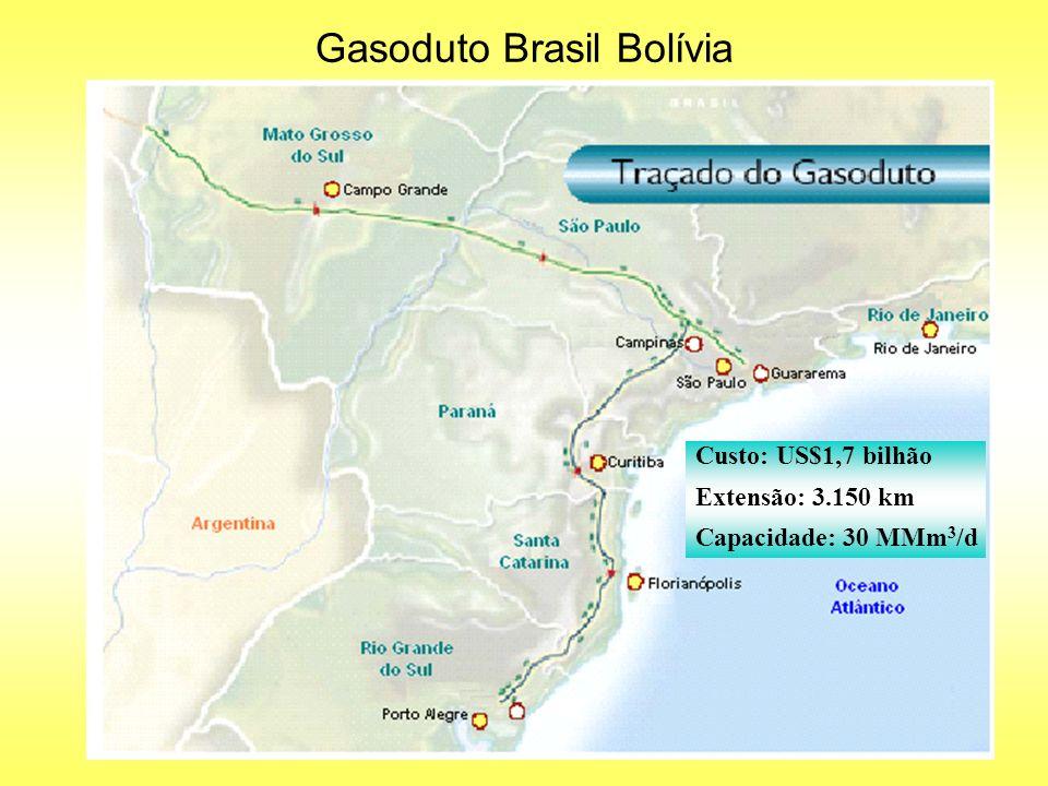 Gasoduto Brasil Bolívia Custo: US$1,7 bilhão Extensão: 3.150 km Capacidade: 30 MMm 3 /d