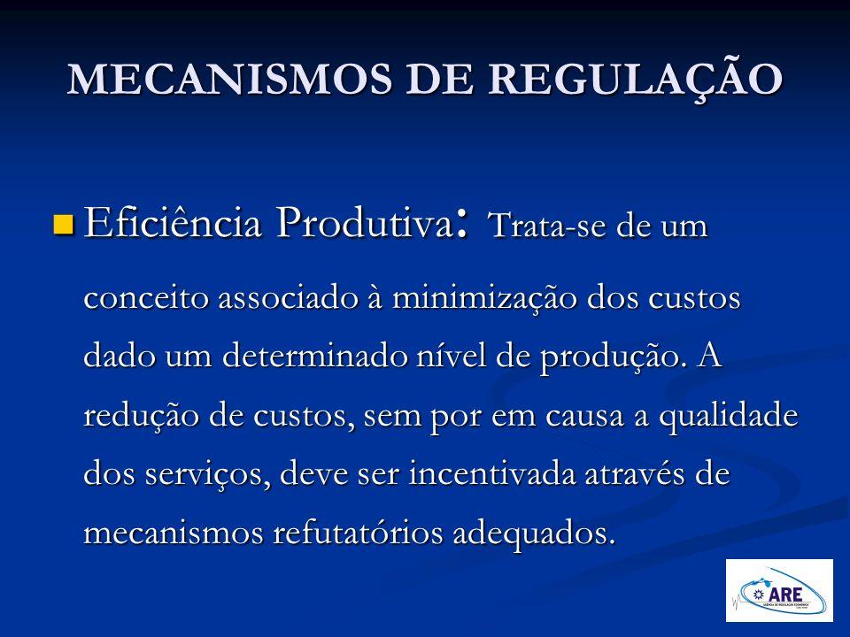 MECANISMOS DE REGULAÇÃO Eficiência Produtiva : Trata-se de um conceito associado à minimização dos custos dado um determinado nível de produção. A red