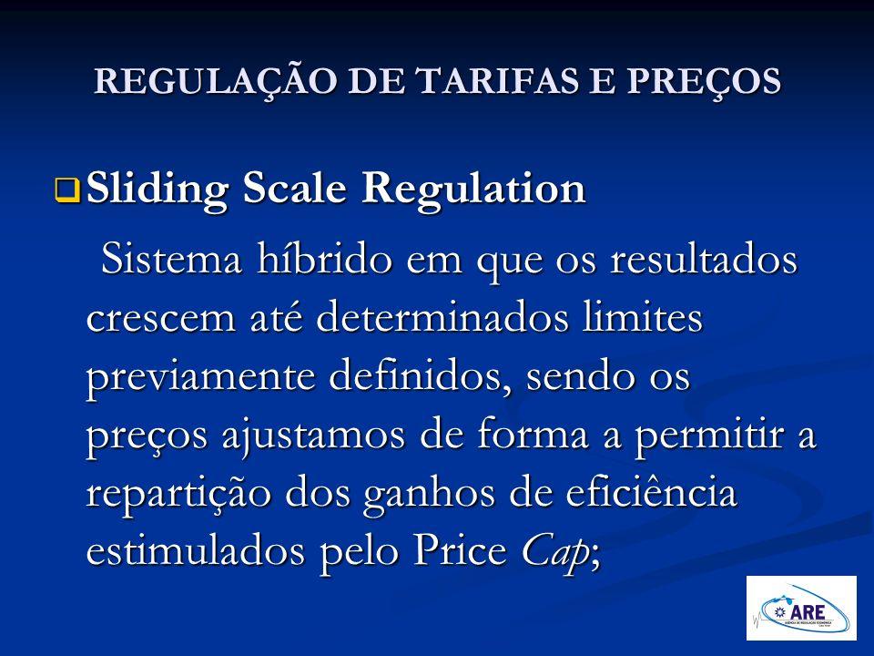 REGULAÇÃO DE TARIFAS E PREÇOS Sliding Scale Regulation Sliding Scale Regulation Sistema híbrido em que os resultados crescem até determinados limites