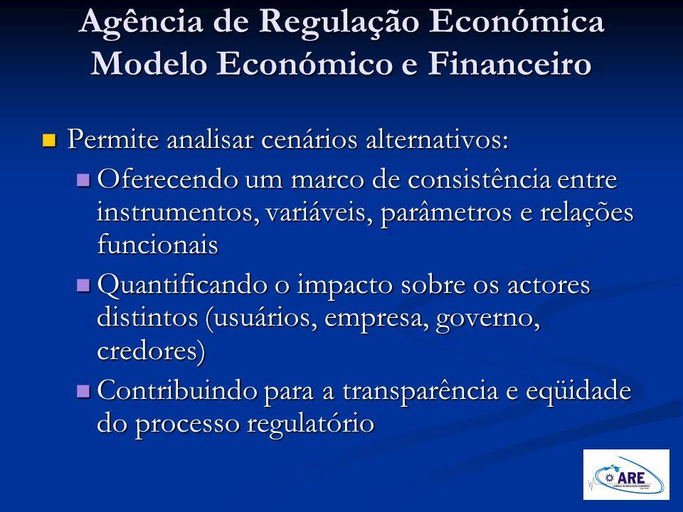 Agência de Regulação Económica Modelo Económico e Financeiro Permite analisar cenários alternativos: Permite analisar cenários alternativos: Oferecend