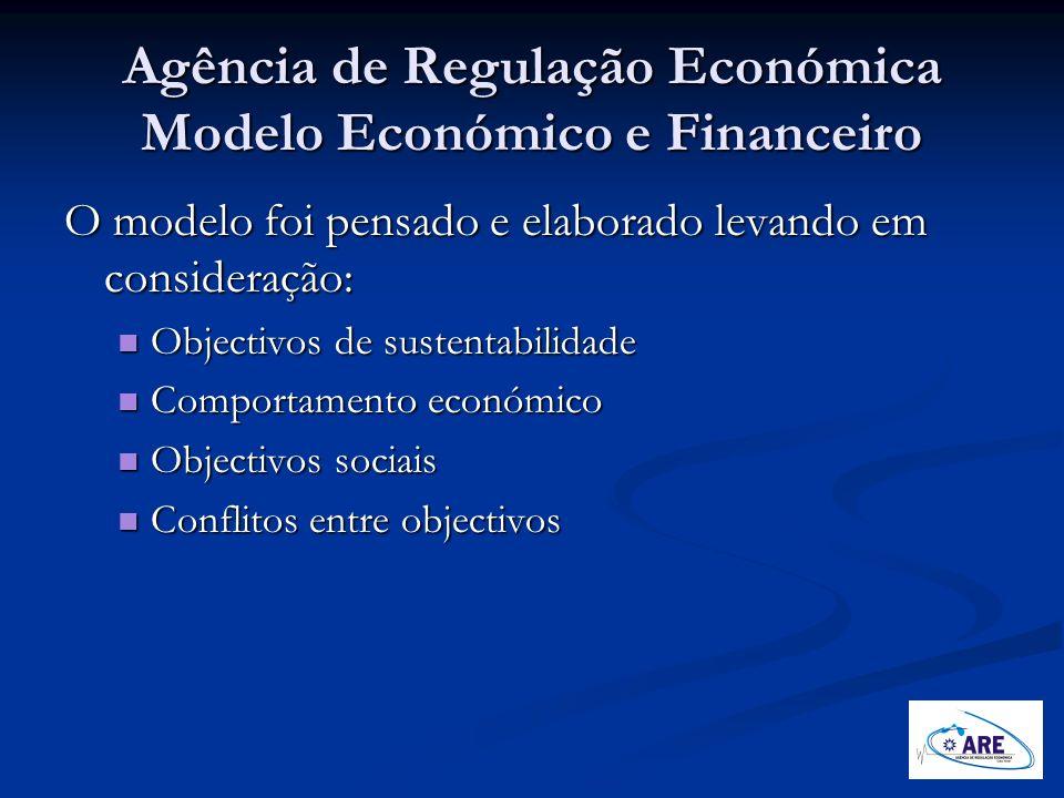 Agência de Regulação Económica Modelo Económico e Financeiro O modelo foi pensado e elaborado levando em consideração: Objectivos de sustentabilidade