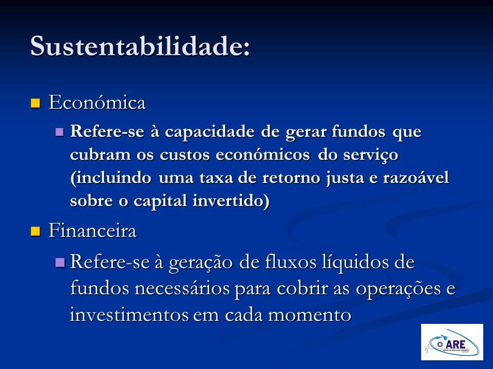 Sustentabilidade: Económica Económica Refere-se à capacidade de gerar fundos que cubram os custos económicos do serviço (incluindo uma taxa de retorno